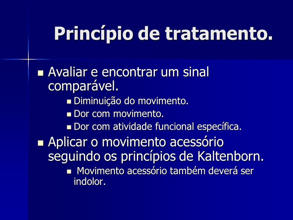 Princípio de tratamento. Avaliar e encontrar um sinal comparável. Avaliar e encontrar um sinal comparável. Diminuição do movimento. Diminuição do movi