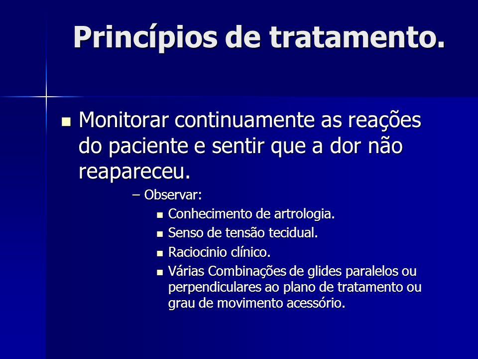 Princípios de tratamento. Monitorar continuamente as reações do paciente e sentir que a dor não reapareceu. Monitorar continuamente as reações do paci