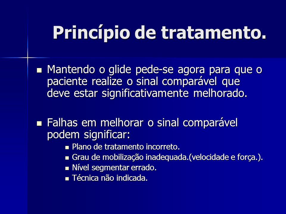 Princípio de tratamento. Mantendo o glide pede-se agora para que o paciente realize o sinal comparável que deve estar significativamente melhorado. Ma