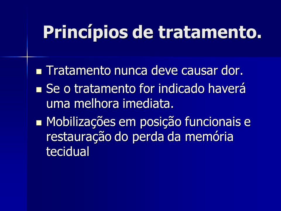 Princípios de tratamento. Tratamento nunca deve causar dor. Tratamento nunca deve causar dor. Se o tratamento for indicado haverá uma melhora imediata