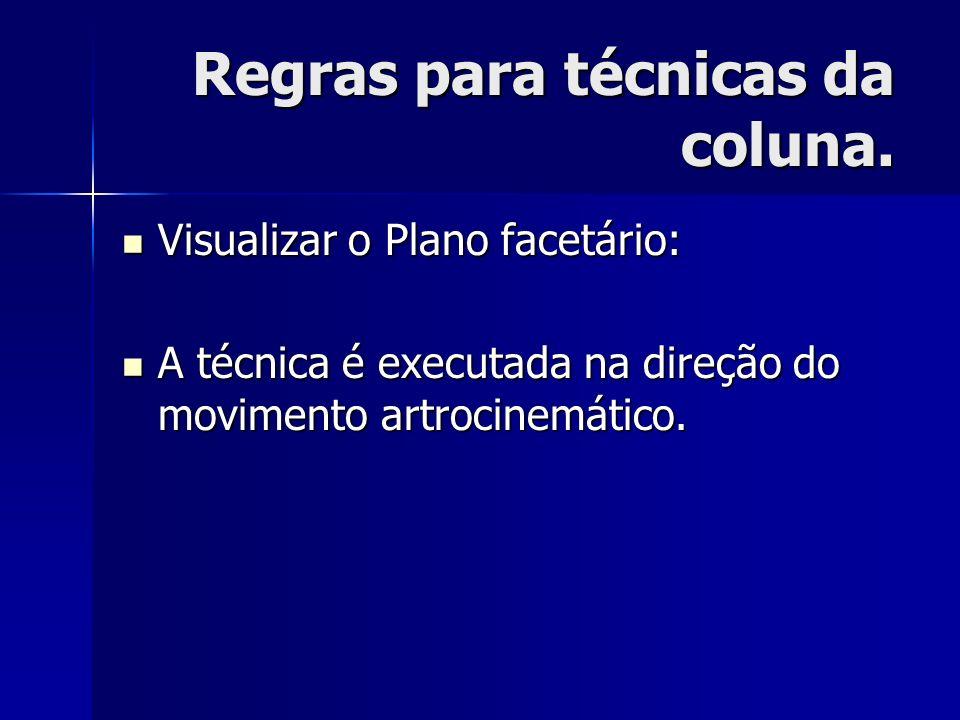 Regras para técnicas da coluna. Visualizar o Plano facetário: Visualizar o Plano facetário: A técnica é executada na direção do movimento artrocinemát