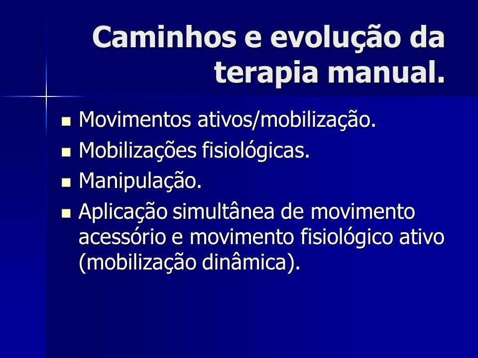 Caminhos e evolução da terapia manual. Movimentos ativos/mobilização. Movimentos ativos/mobilização. Mobilizações fisiológicas. Mobilizações fisiológi