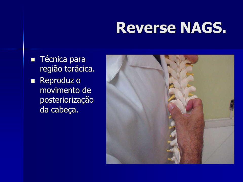 Reverse NAGS. Técnica para região torácica. Técnica para região torácica. Reproduz o movimento de posteriorização da cabeça. Reproduz o movimento de p