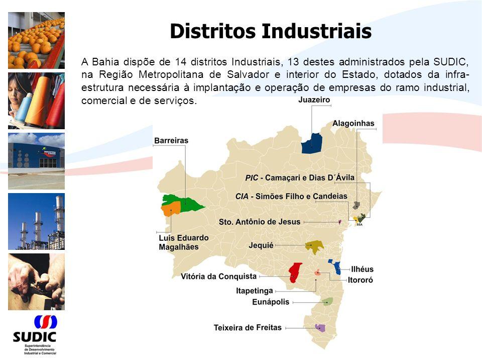 Distritos Industriais A Bahia dispõe de 14 distritos Industriais, 13 destes administrados pela SUDIC, na Região Metropolitana de Salvador e interior do Estado, dotados da infra- estrutura necessária à implantação e operação de empresas do ramo industrial, comercial e de serviços.