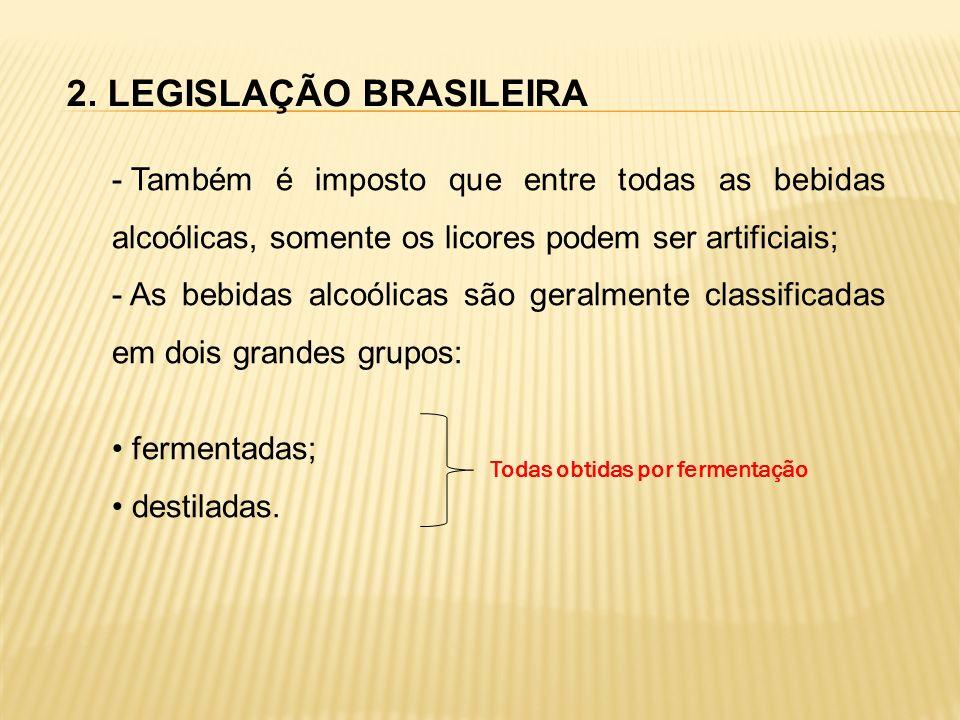 2. LEGISLAÇÃO BRASILEIRA - Também é imposto que entre todas as bebidas alcoólicas, somente os licores podem ser artificiais; - As bebidas alcoólicas s