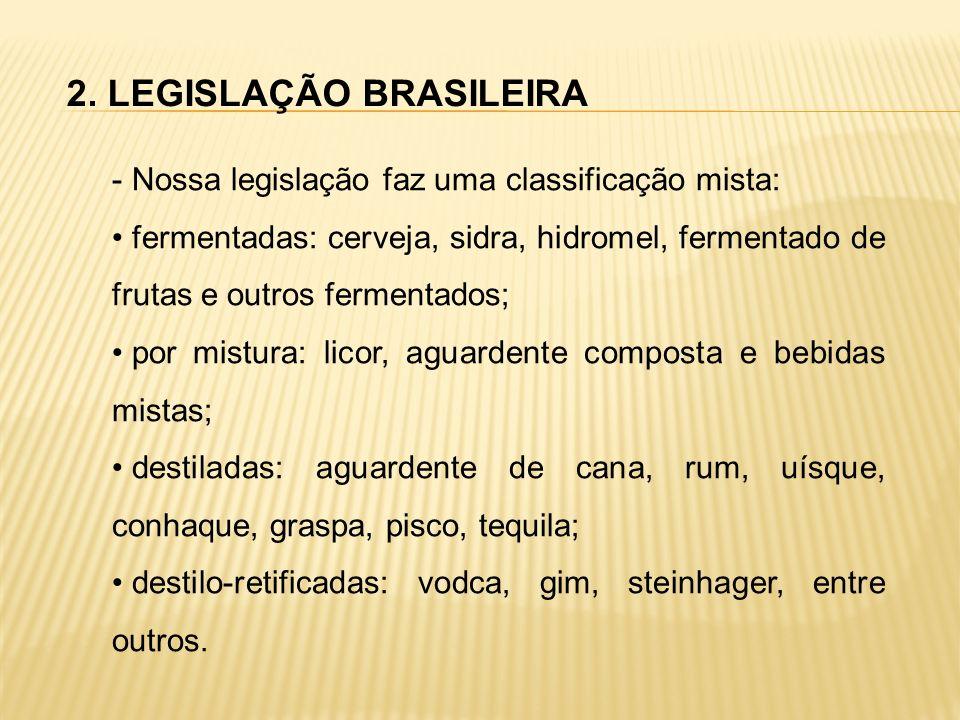 2. LEGISLAÇÃO BRASILEIRA - Nossa legislação faz uma classificação mista: fermentadas: cerveja, sidra, hidromel, fermentado de frutas e outros fermenta