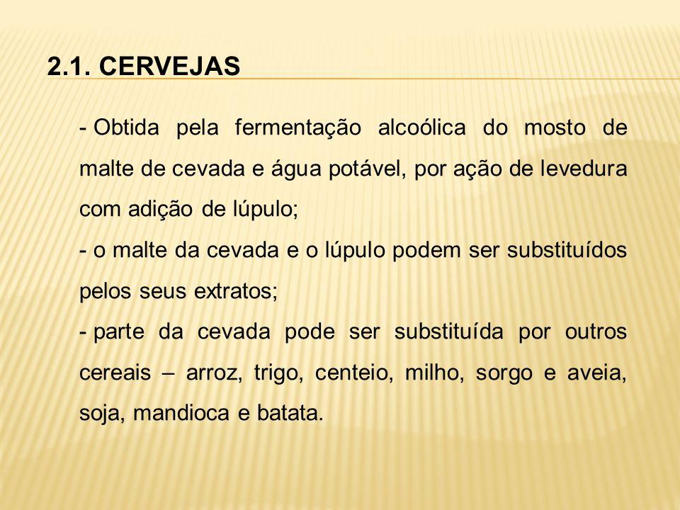 2.1. CERVEJAS - Obtida pela fermentação alcoólica do mosto de malte de cevada e água potável, por ação de levedura com adição de lúpulo; - o malte da