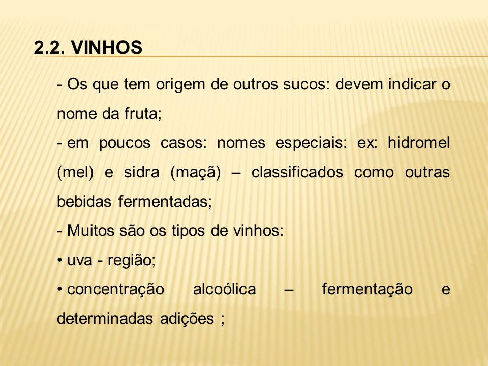 2.2. VINHOS - Os que tem origem de outros sucos: devem indicar o nome da fruta; - em poucos casos: nomes especiais: ex: hidromel (mel) e sidra (maçã)