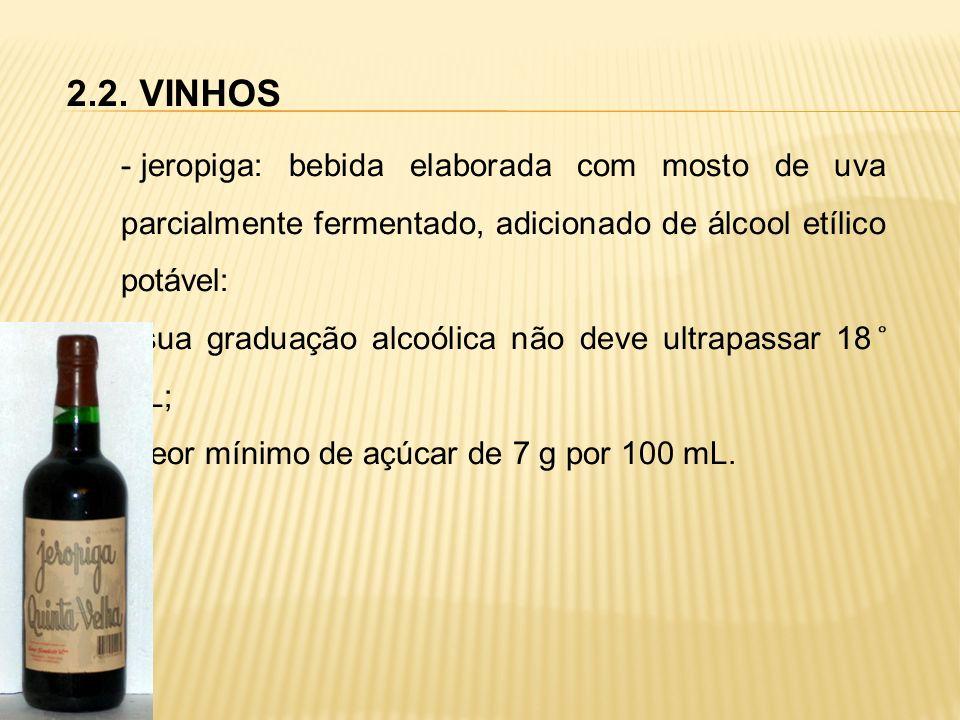 2.2. VINHOS - jeropiga: bebida elaborada com mosto de uva parcialmente fermentado, adicionado de álcool etílico potável: sua graduação alcoólica não d