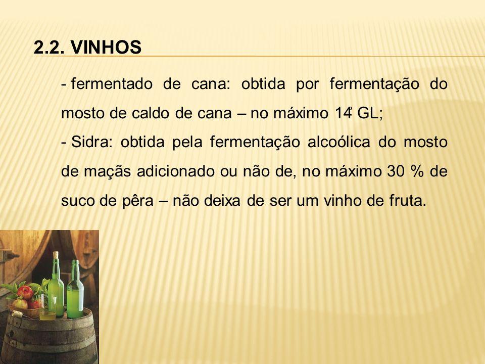 2.2. VINHOS - fermentado de cana: obtida por fermentação do mosto de caldo de cana – no máximo 14 ̊ GL; - Sidra: obtida pela fermentação alcoólica do