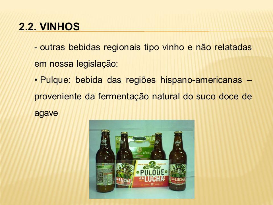 2.2. VINHOS - outras bebidas regionais tipo vinho e não relatadas em nossa legislação: Pulque: bebida das regiões hispano-americanas – proveniente da