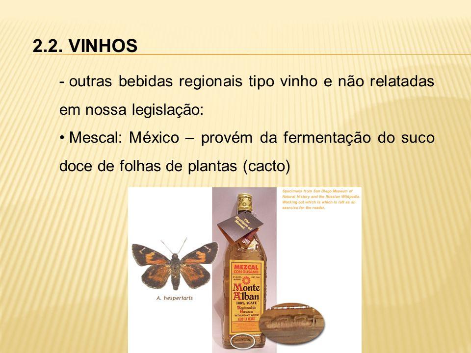 2.2. VINHOS - outras bebidas regionais tipo vinho e não relatadas em nossa legislação: Mescal: México – provém da fermentação do suco doce de folhas d