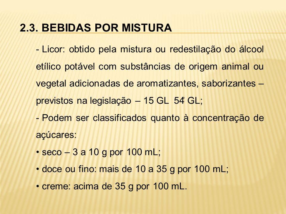 2.3. BEBIDAS POR MISTURA - Licor: obtido pela mistura ou redestilação do álcool etílico potável com substâncias de origem animal ou vegetal adicionada