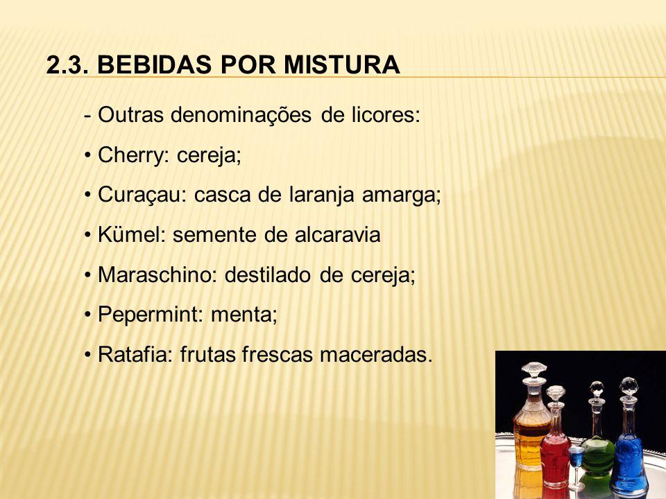2.3. BEBIDAS POR MISTURA - Outras denominações de licores: Cherry: cereja; Curaçau: casca de laranja amarga; Kümel: semente de alcaravia Maraschino: d