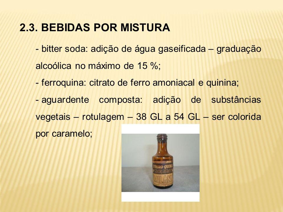 2.3. BEBIDAS POR MISTURA - bitter soda: adição de água gaseificada – graduação alcoólica no máximo de 15 %; - ferroquina: citrato de ferro amoniacal e
