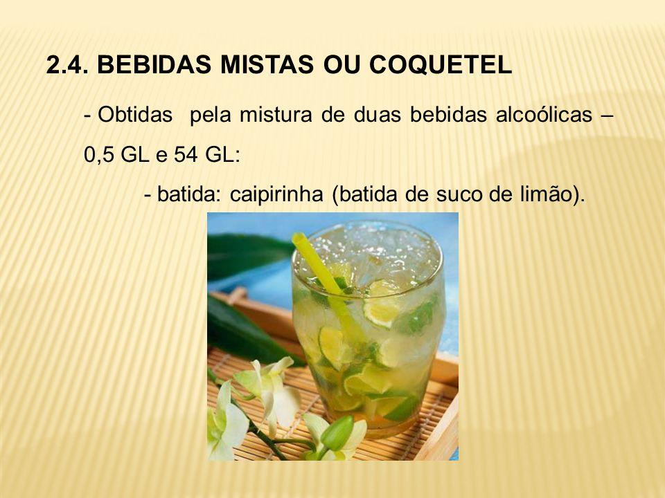 2.4. BEBIDAS MISTAS OU COQUETEL - Obtidas pela mistura de duas bebidas alcoólicas – 0,5 GL e 54 GL: - batida: caipirinha (batida de suco de limão).