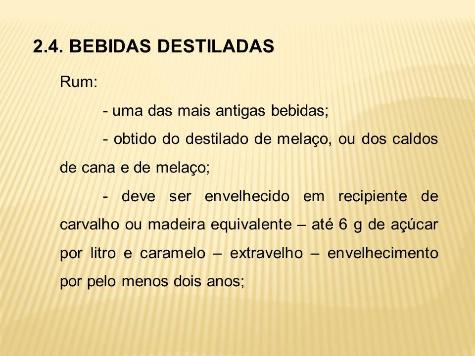 2.4. BEBIDAS DESTILADAS Rum: - uma das mais antigas bebidas; - obtido do destilado de melaço, ou dos caldos de cana e de melaço; - deve ser envelhecid