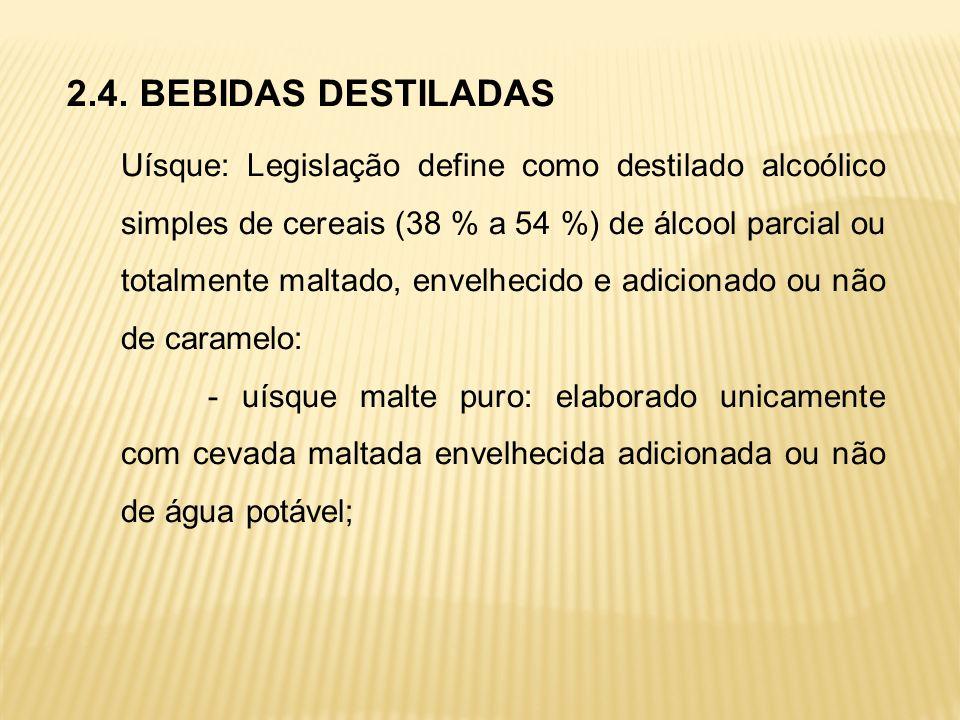 2.4. BEBIDAS DESTILADAS Uísque: Legislação define como destilado alcoólico simples de cereais (38 % a 54 %) de álcool parcial ou totalmente maltado, e
