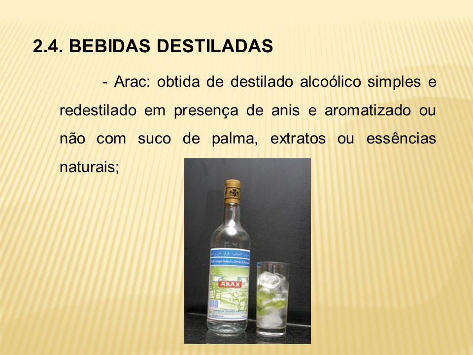 2.4. BEBIDAS DESTILADAS - Arac: obtida de destilado alcoólico simples e redestilado em presença de anis e aromatizado ou não com suco de palma, extrat