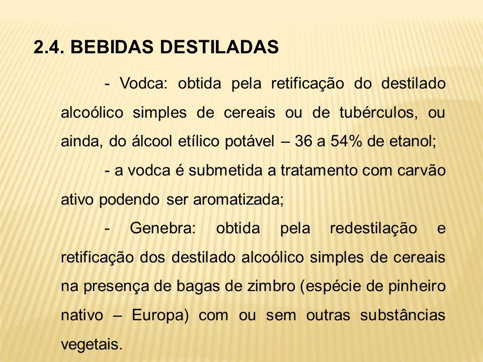 2.4. BEBIDAS DESTILADAS - Vodca: obtida pela retificação do destilado alcoólico simples de cereais ou de tubérculos, ou ainda, do álcool etílico potáv