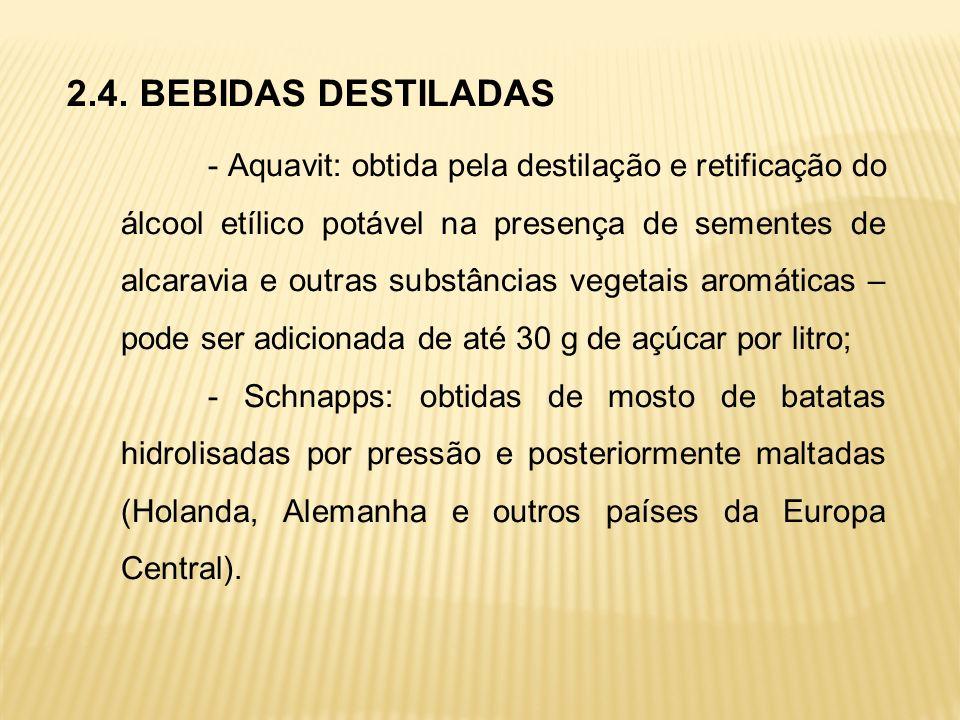 2.4. BEBIDAS DESTILADAS - Aquavit: obtida pela destilação e retificação do álcool etílico potável na presença de sementes de alcaravia e outras substâ