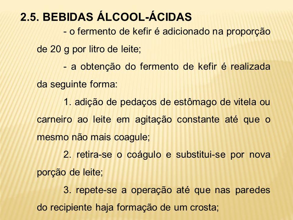 2.5. BEBIDAS ÁLCOOL-ÁCIDAS - o fermento de kefir é adicionado na proporção de 20 g por litro de leite; - a obtenção do fermento de kefir é realizada d