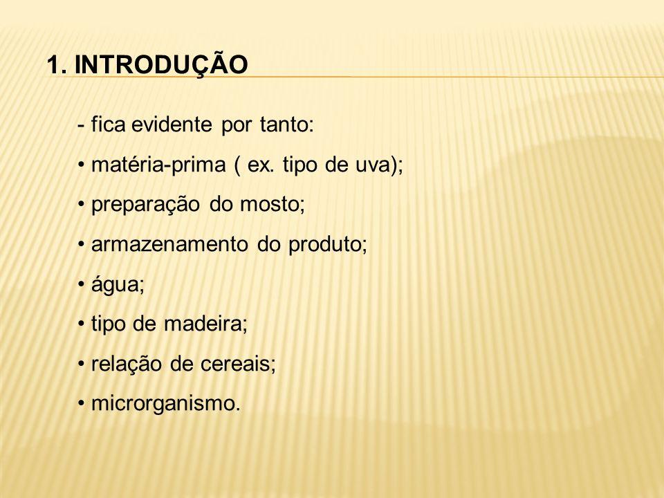 1. INTRODUÇÃO - fica evidente por tanto: matéria-prima ( ex. tipo de uva); preparação do mosto; armazenamento do produto; água; tipo de madeira; relaç