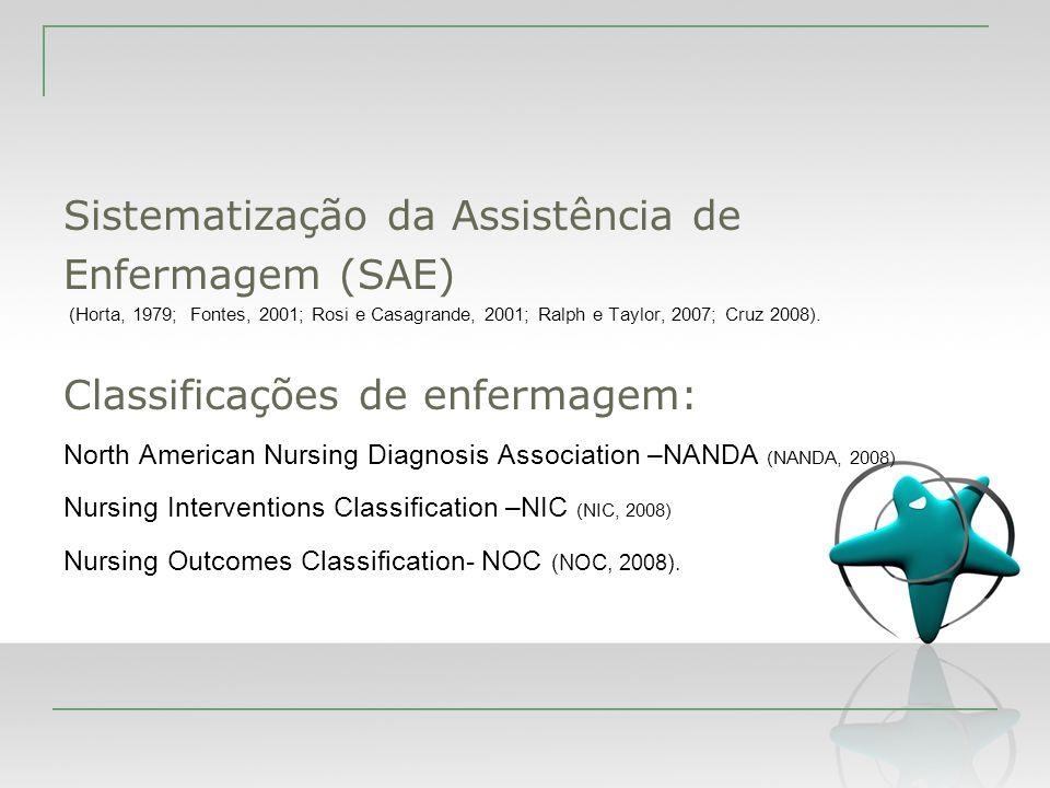 Sistematização da Assistência de Enfermagem (SAE) (Horta, 1979; Fontes, 2001; Rosi e Casagrande, 2001; Ralph e Taylor, 2007; Cruz 2008). Classificaçõe