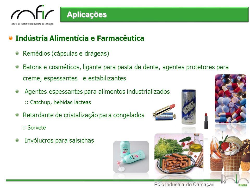 Pólo Industrial de Camaçari Indústria Alimentícia e Farmacêutica Remédios (cápsulas e drágeas) Batons e cosméticos, ligante para pasta de dente, agent