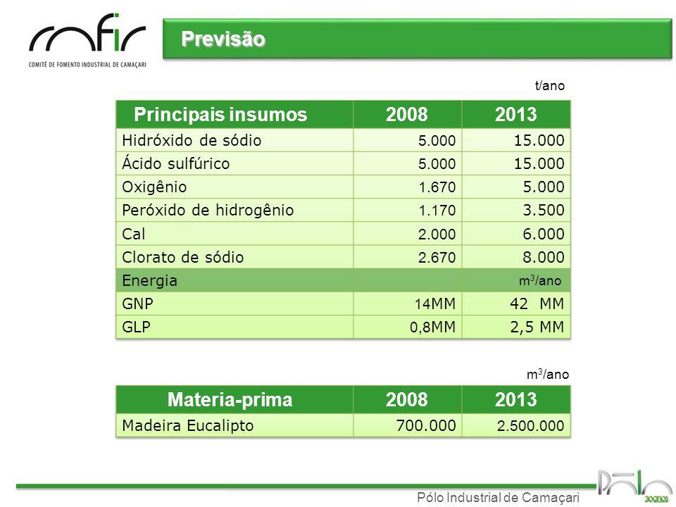 Pólo Industrial de Camaçari Previsão t/ano m 3 /ano