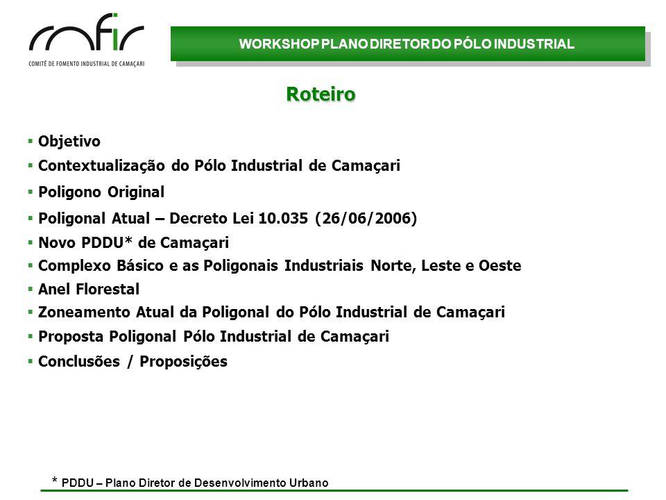 WORKSHOP PLANO DIRETOR DO PÓLO INDUSTRIAL Objetivo Contextualização do Pólo Industrial de Camaçari Poligono Original Poligonal Atual – Decreto Lei 10.