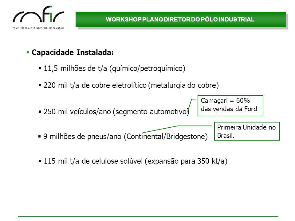 WORKSHOP PLANO DIRETOR DO PÓLO INDUSTRIAL Capacidade Instalada: 250 mil veículos/ano (segmento automotivo) 220 mil t/a de cobre eletrolítico (metalurg