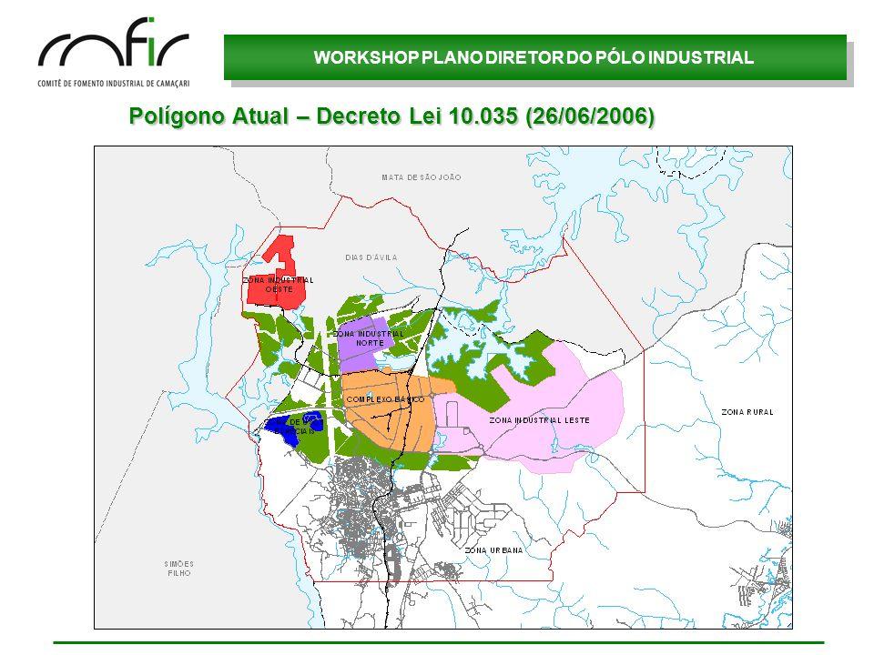 WORKSHOP PLANO DIRETOR DO PÓLO INDUSTRIAL Polígono Atual – Decreto Lei 10.035 (26/06/2006)