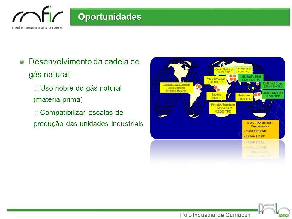 Pólo Industrial de Camaçari Oportunidades Desenvolvimento da cadeia de gás natural :: Uso nobre do gás natural (matéria-prima) :: Compatibilizar escal