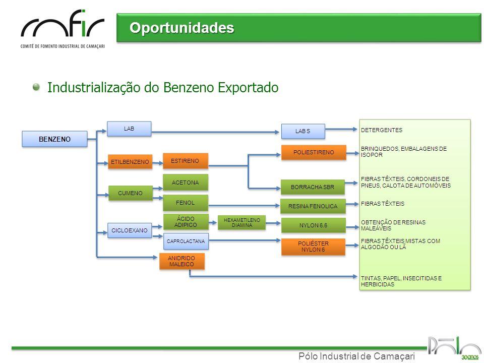 Pólo Industrial de Camaçari Oportunidades Industrialização do Benzeno Exportado