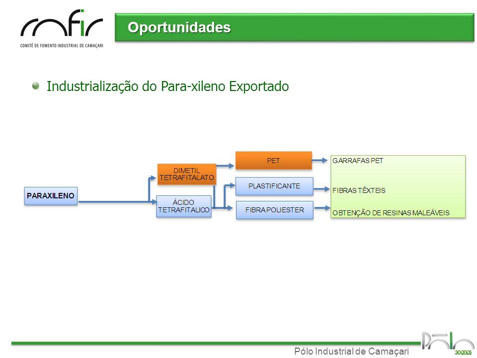 Pólo Industrial de Camaçari Oportunidades Industrialização do Para-xileno Exportado