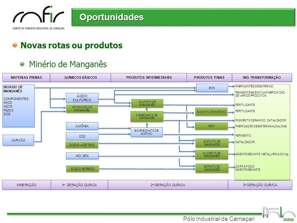 Pólo Industrial de Camaçari Novas rotas ou produtos Minério de Manganês Oportunidades