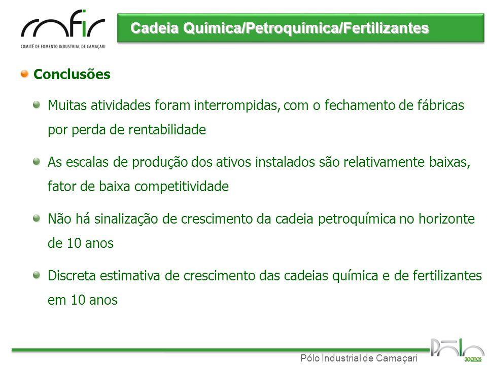 Pólo Industrial de Camaçari Conclusões Muitas atividades foram interrompidas, com o fechamento de fábricas por perda de rentabilidade As escalas de pr