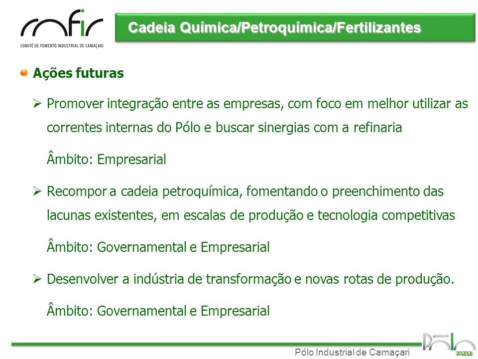 Pólo Industrial de Camaçari Ações futuras Promover integração entre as empresas, com foco em melhor utilizar as correntes internas do Pólo e buscar si