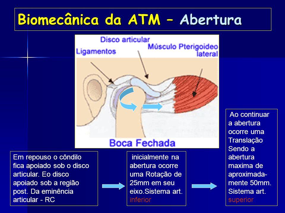 Biomecânica da ATM- Movimentos articulares Ação muscular PROTRUSÃO PROTRUSÃO RETRUSÃO ABAIXAMENTO ELEVAÇÃO TEMPORAL POSTERIOR PTERIG. LATERAL E MEDIAL
