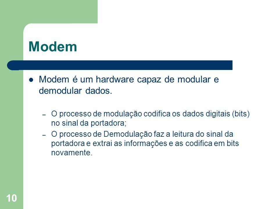 10 Modem Modem é um hardware capaz de modular e demodular dados. – O processo de modulação codifica os dados digitais (bits) no sinal da portadora; –