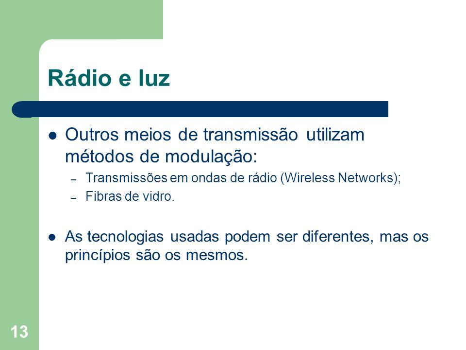 13 Rádio e luz Outros meios de transmissão utilizam métodos de modulação: – Transmissões em ondas de rádio (Wireless Networks); – Fibras de vidro. As