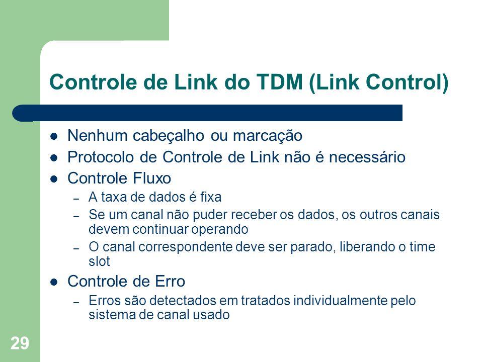 29 Controle de Link do TDM (Link Control) Nenhum cabeçalho ou marcação Protocolo de Controle de Link não é necessário Controle Fluxo – A taxa de dados