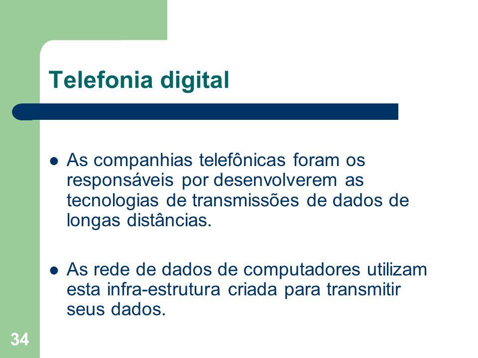 34 Telefonia digital As companhias telefônicas foram os responsáveis por desenvolverem as tecnologias de transmissões de dados de longas distâncias. A