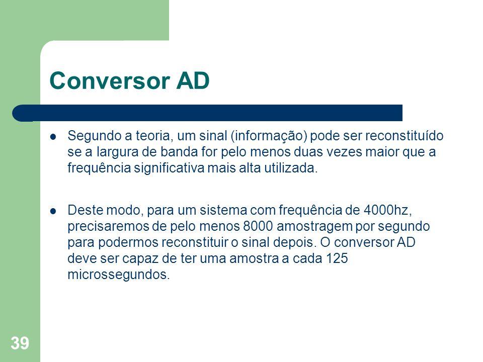 39 Conversor AD Segundo a teoria, um sinal (informação) pode ser reconstituído se a largura de banda for pelo menos duas vezes maior que a frequência