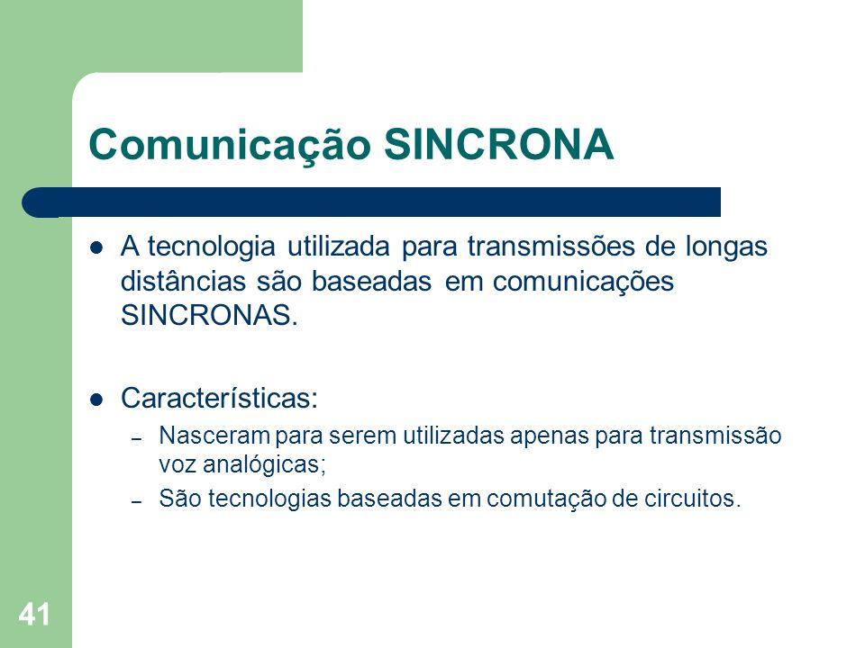 41 Comunicação SINCRONA A tecnologia utilizada para transmissões de longas distâncias são baseadas em comunicações SINCRONAS. Características: – Nasce