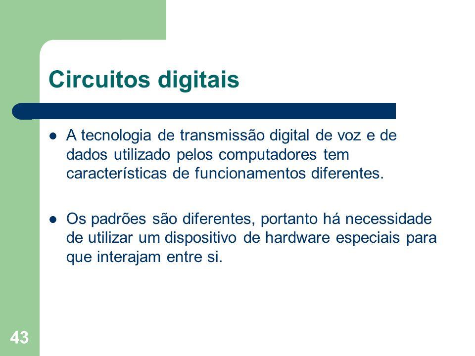 43 Circuitos digitais A tecnologia de transmissão digital de voz e de dados utilizado pelos computadores tem características de funcionamentos diferen