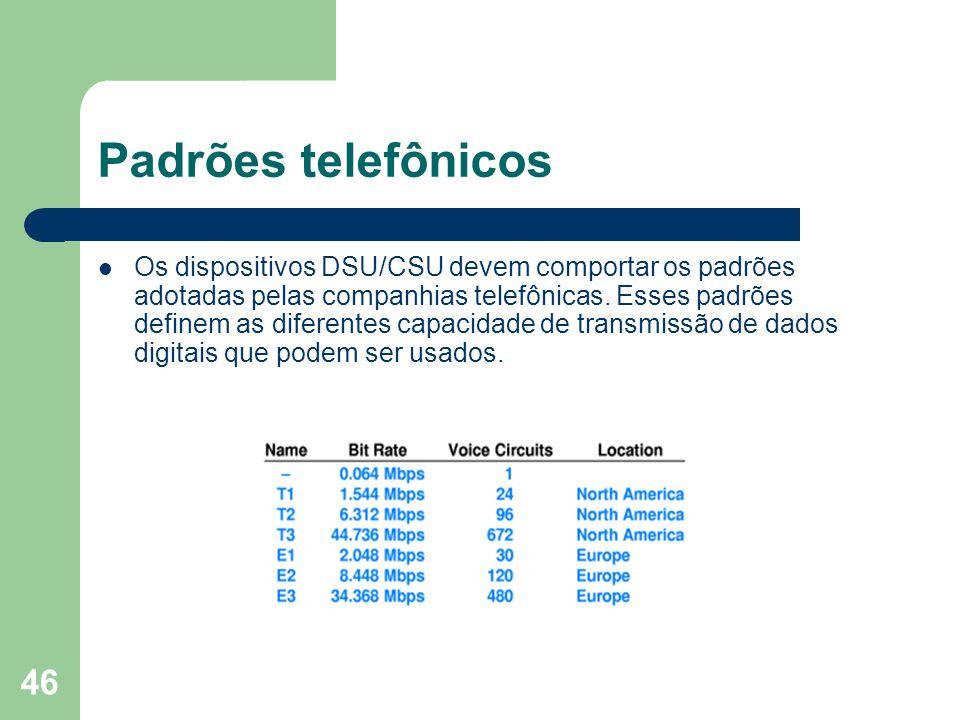 46 Padrões telefônicos Os dispositivos DSU/CSU devem comportar os padrões adotadas pelas companhias telefônicas. Esses padrões definem as diferentes c