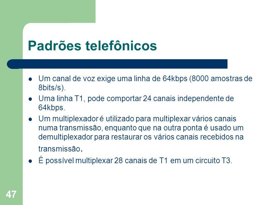 47 Padrões telefônicos Um canal de voz exige uma linha de 64kbps (8000 amostras de 8bits/s). Uma linha T1, pode comportar 24 canais independente de 64