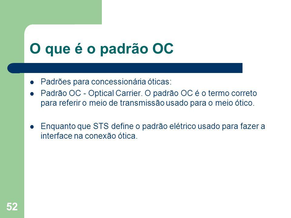 52 O que é o padrão OC Padrões para concessionária óticas: Padrão OC - Optical Carrier. O padrão OC é o termo correto para referir o meio de transmiss